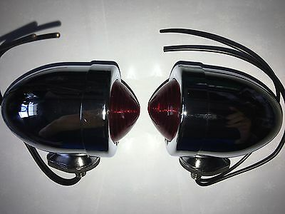 Chrome Plated Bullet Marker Lights Pair  Red Dual Filament Bulb Old Style Harley