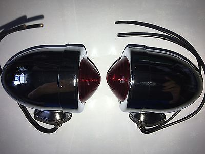 Chrome Plated Bullet Marker Lights Red Dual Filament Bulb Old Style Harley
