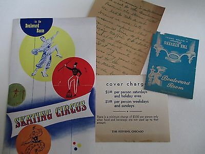 1949 Lot The Boulevard Room Chicago Skating Circus Program Matchbook Provenance