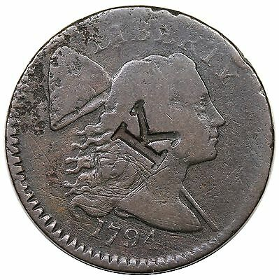 "1794 Liberty Cap Large Cent, Head of '94, S-65, ""K"" counterstamp, G+ detail"