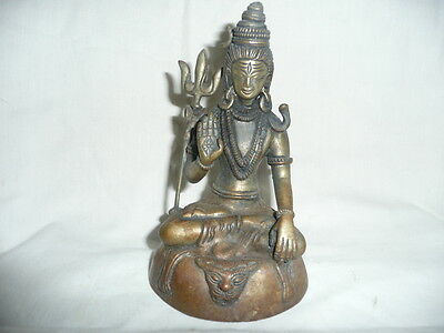 Antique Solid Hot Cast  Bronze Tibetan Buddha Statue/Figure Seated onTiger Skin!