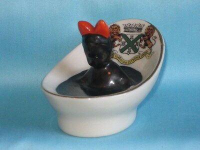 Carlton China Black Girl In Oval Bath 'I'se Making Ink' - PLYMOUTH crest