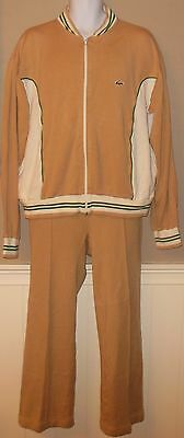 Vintage 70s Izod Lacoste Men XL Alligator Tracksuit Jacket Pants Tan Gold Green