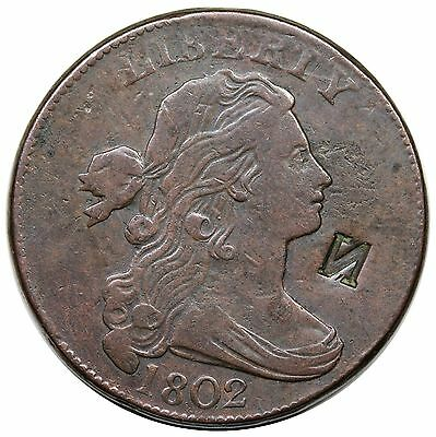 """1802 Draped Bust Large Cent, S-229, """"N"""" counterstamp, VF detail"""