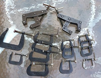Lot Of 15 Clamps Kant Twist And C Clamps All USA Made
