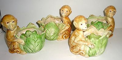 4 Vintage Fitz & Floyd Ceramic Monkey Candle Holders 1986