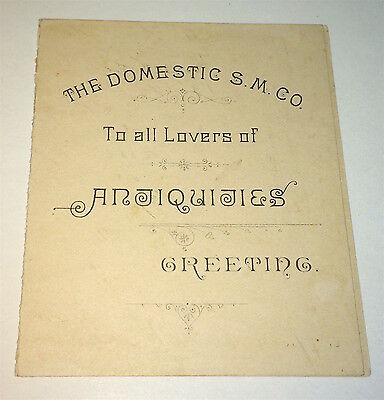 Rare Antique Victorian American Domestic Sewing Machine Advertising Trade Card!