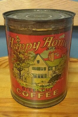 Rare Antique Happy Home Paper Label Coffee Tin Can Wulfing Grocer St. Louis Mo