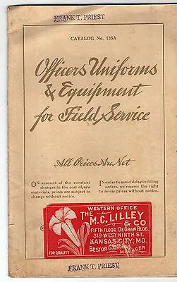 WW1 M C Lilley & Co.Catalog Officers Uniforms & Equipment for Field Service