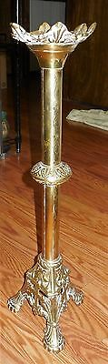 Antique Brass Italian Gothic Church Altar Cross Candle Holders Candlesticks