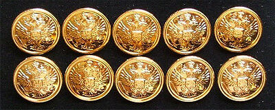 10 Big Russian Official Uniform Buttons Imperial Double-Headed Eagle Golden Rim