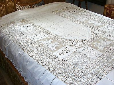 "Gorgeous Antique Fancy Linen~Lace~Cut-Work Tablecloth~Cherubs~76-110""~Hand Sewn"