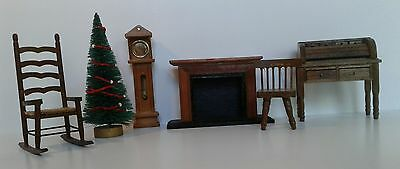 Lot of Vintage Miniature Dollhouse Furniture Accessories Concord Wood