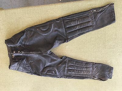 Vintage BROOKS Leather Motorcycle Pants w/ Pads Detroit USA