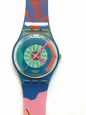 Swatch Watch 1990 Vintage Passion Flower GN703 As New Unworn