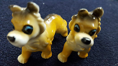 Vintage Ceramic Dogs (2) Collectible Border Collie Figurines Made In Japan