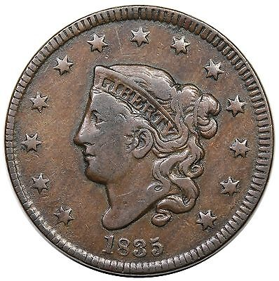 1835 Coronet Head Large Cent, Head of '34, Small 8, N-5, nice VF+