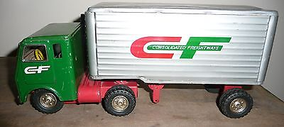Vintage Consolidated Freightways Cf Semi Truck Tractor Trailer Tin Toy Japan