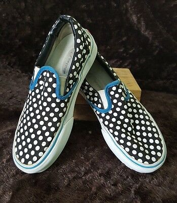 Women's Vans White Polka Dot Black Slip On Fashion Sneakers Size 6 Blue Trimming