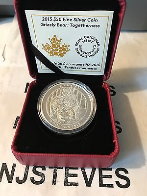 2015 CANADA GRIZZLY BEAR: TOGETHERNESS Fine SILVER Proof $20 Coin