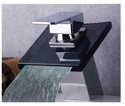 Deck Mounted Chrome Bathroom Basin Sink Mixer Taps Spary Waterfall Spout Faucet