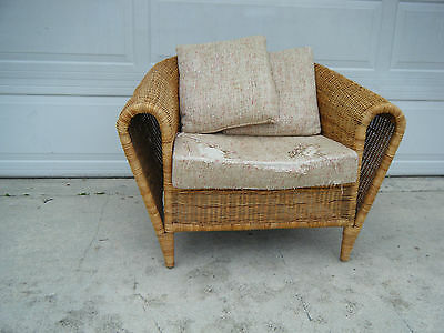 Vintage Mid Century Modern Wicker Rattan Bent Wrapped Rolled Arm Chair