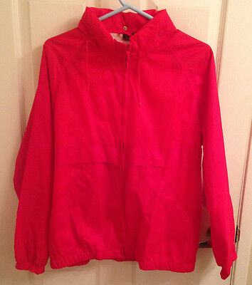 Vintage Pacific Trail Windbreaker Jacket - Red with Hood - Women's Size Large