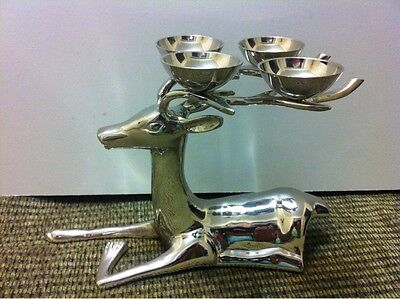 Vintage Metal Silver Color Deer Candle Holder. Christmas Gift