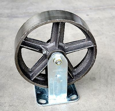 "8"" HEAVY DUTY Caster 500KG CAST IRON Fixed CASTOR wheel for trolley Bin Bench"
