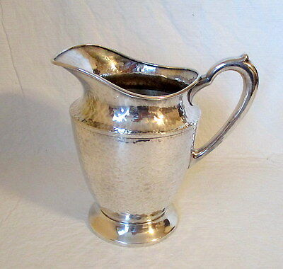 vintage silverplate water pitcher by Andover hand hammered
