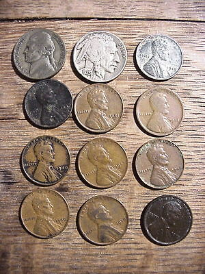 US 10 Wheat Cents & Buffalo & Silver NICKELS LOT of COINS Ungraded