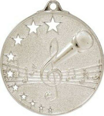 Microphone / Singing /  Karaoke Medal Silver 50mm With Neck Ribbon Engraved FREE