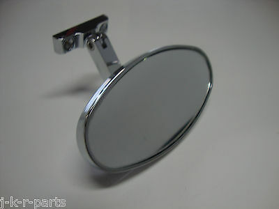 Chrome Rear View Mirror Oval Bolt On Universal Chevy Ford Hot Rods #6616