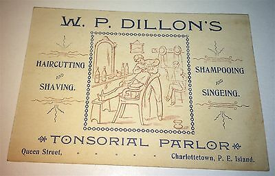 Rare Antique Victorian Occupational Tonsorial Barber Advertising Old Trade Card!