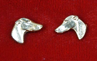 Vintage Greyhound Head Gold-Plated Post Earrings; Great Condition