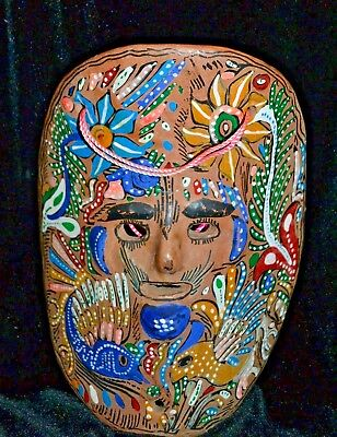 Mexican Folk Art Mask Hand Painted Terracotta Curved Colors Wall Art Home Decor
