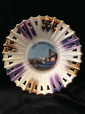 Vintage Souvenir Plate Gold Trim Lace Edge San Francisco Golden Gate Bridge