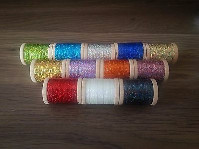 """26 Spools Holographic Tinsel Rod Building Wrapping 100 Yards 1/16"""" & 1/32"""" Width"""