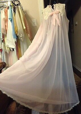 Vtg PINK Double Layer SHEER Chiffon Nightgown Negligee Lace M L