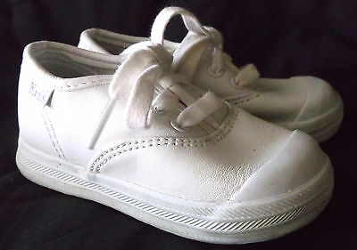 KEDS Original White Leather Lace Up Shoes Toddler Girls Size 6