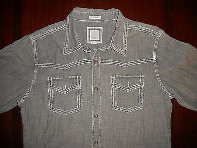 Men's Buckle Long Sleeve Button Front Shirt Size L Slim Fit Gray
