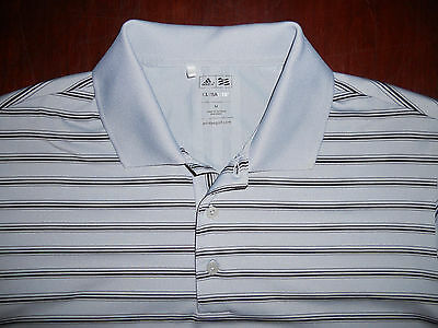 Men's Adidas Golf ClimaLite Short Sleeve Polo Shirt Size M Gray Striped