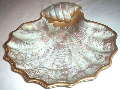 Stangl Pottery: ANTIQUE GOLD: Large Shell Shaped Serving Dish #4019: EXC: NR