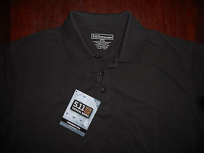 Men's NWT 5.11 Tactical Series Short Sleeve Polo Shirt Size L Black