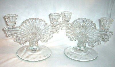 Paden City #221 MAYA: Pair of Two-Way Double Candlesticks, Laurel Etch: EXC: NR