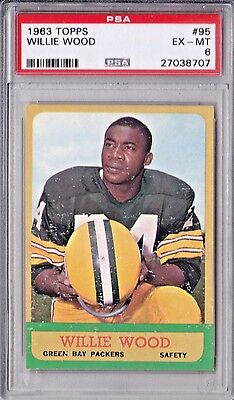 1963 Topps Football #95 Willie Wood ROOKIE RC HOF PSA 6 EX MINT Centered Packers
