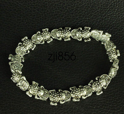 Chinese Exquisite Old  Miao silver frog wealth Bracelet