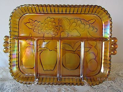 Vintage Amber Carnival Glass Divided Tabbed Serving Plate