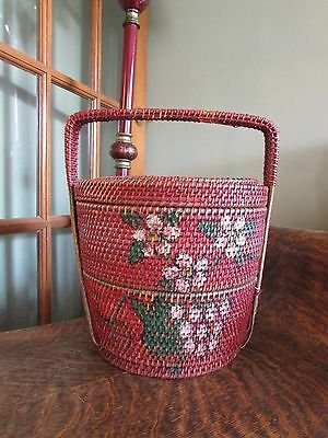 Vintage Woven Red Paint With Handpainted Flowers 2 Tier Chinese Wedding Basket