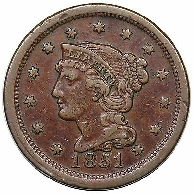 1851 Braided Hair Large Cent, N-12, LDS (old N-11), VF-XF